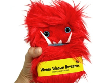 Worry Woolie childrens pocket monster notebook, red and blue fuzzy journal