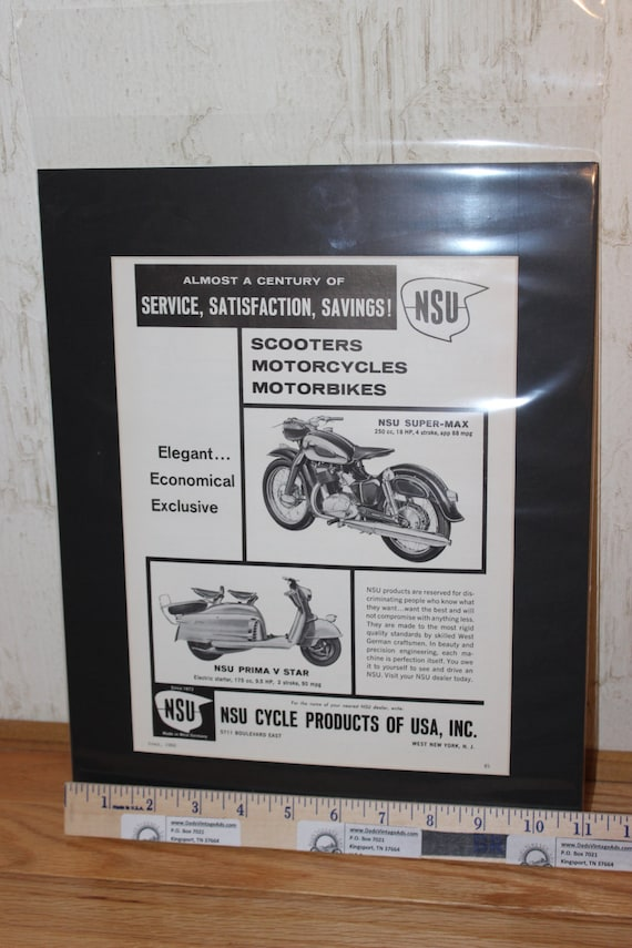 1960 NSU Motorcycles and Scooters 11'' x 14'' Matted Vintage Ad #6004amot02m