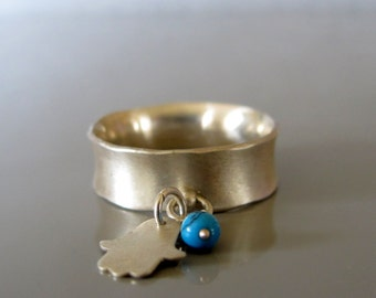 Sterling silver hamsa ring, Hamsa charm ring with a turquoise
