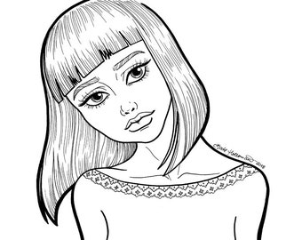 Tenderhearted | PORTRAIT illustration of a girl - downloadable printable coloring page for adults Line Art by Kate Holloman