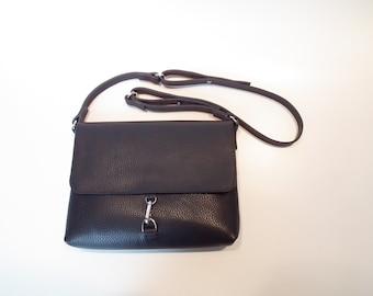 schwarze Leder Handtasche schwarzen Klappe-Umhängetasche