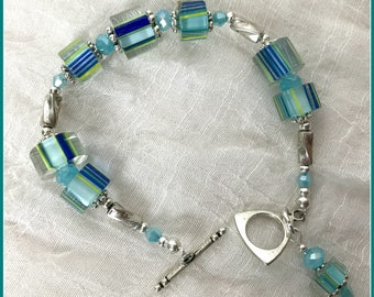 Blue Lampwork Bracelets, Handmade Bracelets, Turquoise Bracelets,  Beaded Bracelets, Art Glass, Ocean Colors, Cane Glass Beads,
