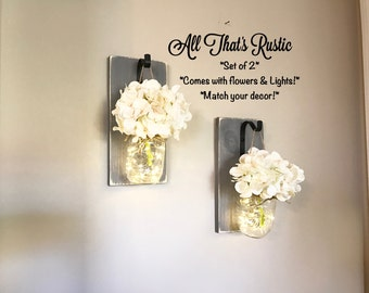 Lighted Sconce, Mason Jar Sconce, Rustic Home Decor, Rustic Lighting, Fairy Lights, Mason Jar Decor, Lighting, Home Decor, Mason Jar Decor