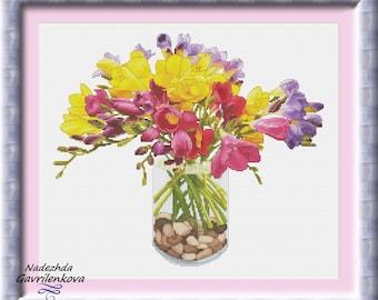 Freesias Cross Stitch Pattern Flowers Modern cross stitch pattern PDF Embroidery room wall decor