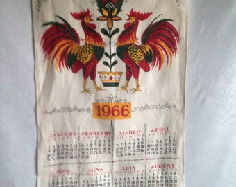 """1966 Linen Tea Towel Calendar Large Roosters 29""""X16"""" Country Cottage Collectors"""