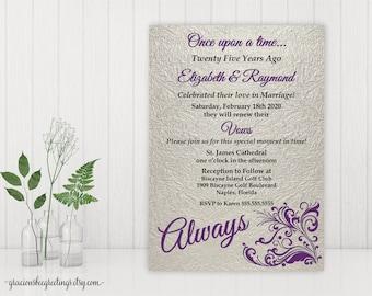 Vow Renewal Invitation, Anniversary Party Invite, 5th, 10th, 20th, 25th, 35th, 40th, Wedding Invitation, Invite, Printable, Digital, V27012