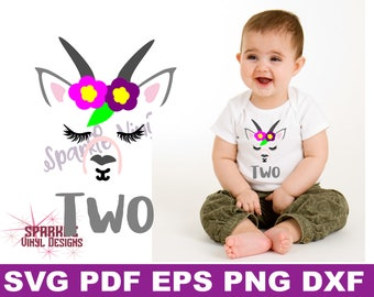 two year old svg, goat face svg, two svg girl, two svg, second birthday svg girl, second birthday svg, 2 svg, birthday svg files girl, goat