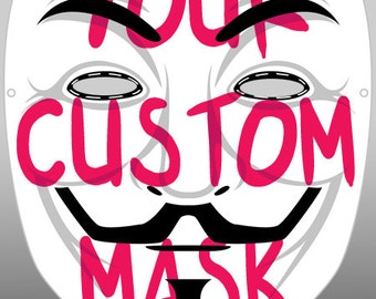 Guy Fawkes V for Vendetta Anonymous Modifed Custom hand Painted Mask