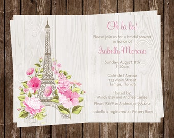 Paris Bridal Shower Invitations, Eiffel Tower, Pink, French, Vintage, Chic, Tea, Wedding, Floral, Shabby Chic, Blush, 10 Printed Cards