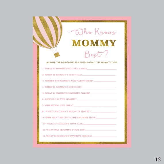Who Knows Mommy Best How Well Do You Know Mom Air Balloon