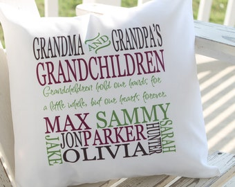 Personalized Family Pillow - Grandparent Pillow - Grandchildren - Personalized Grandparent Gift - 14x14 Pillow - Custom Design - Made in USA