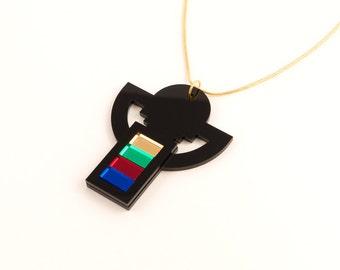 Geometric Perspex Statement Necklace - Black, Multi-colour FORM_007