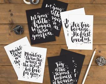 Set of 8 Faith Postcards - Postcard Set - Christian Prints - Izzy & Pop - Brush-Lettered Prints - Monochrome Postcards - Quote Postcards