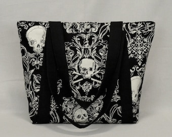 Zippered Tote Bag with Pockets, Pirate Skull and Crossbones, Black and White, Fabric with Canvas Liner, Inside Pockets