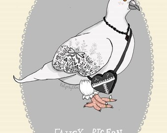 Maevis the Fancy Pigeon - illustrated postcard art print