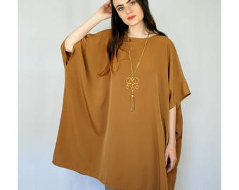 Burnt sienna oversize pullover/tunic CAFTAN one size fits all 1980s 80s VINTAGE