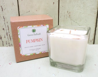 Pumpkin Soy Candle - 12 oz. Glass Cube - Green Daffodil - Hand poured -CG - Fall Autumn Scent