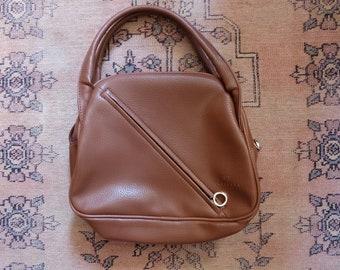 1990s vintage brown leatherette top handle handbag bag