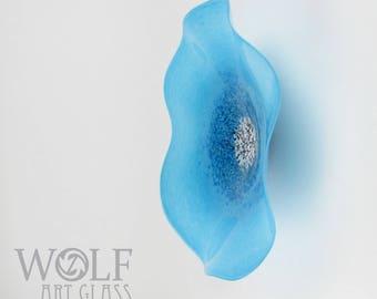 MADE TO ORDER Blown Glass Wall Art Ocean Pool Blue Poppy Flower Wall Decor Art Glass Sculpture