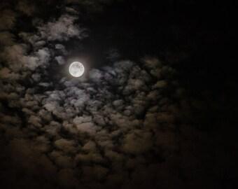 Fall Moon 1 - Full Moon Clouds Sky Photograph