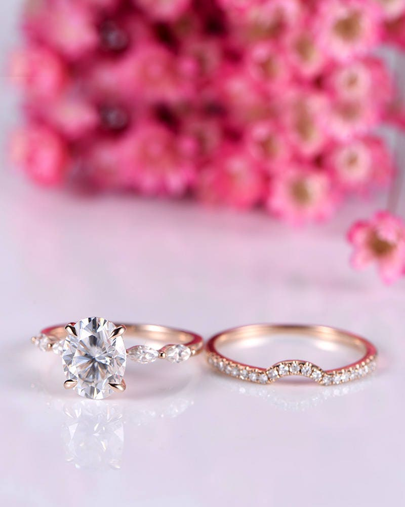 Wedding ring set moissanite engagement ring with art deco