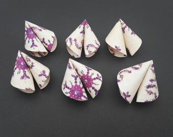 Origami Chinese Fortune Cookies set of 6, with a purple snowflake Christmas Design