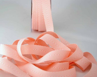 Striped Chevron Twill Ribbon -- 3/4 inch -- Pink White Stripe