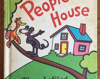 1972, In a People House, by Theo. LeSieg, illustrated by Roy McKie, vintage children's picture book, Dr. Seuss, A.S. Geisel, rhyming book