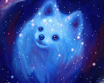Galaxy Pomeranian Art Print - Blue Dog Painting Pet Portrait - Cute Puffball Fluffy Fluffbutt Poofball Wall Home Decor Katie Clark Art