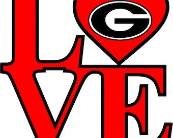 Love Georgia Bulldogs Dawgs SVG