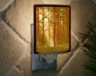 Woodland Sunbeams Colored Porcelain Lithophane Night Light