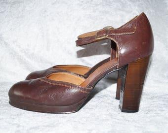 70's Vintage Slingback Pumps Leather Brown UK6
