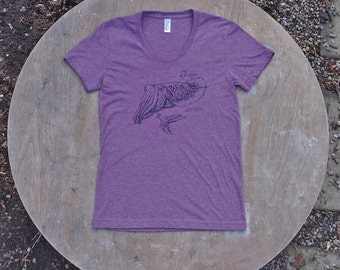 Cuttlefish T-Shirt Let's Cuttle Hipster Design on Women's American Apparel Heather Plum