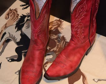 SPECTACULAR MINT 90's Vintage LUCCHESE Boots/1883 Style/Red Leather/Women's Size 10