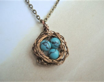 Bird Nest Necklace Turquoise Necklace Gift For Mom Nest Jewelry Mom Necklace Birdnest Jewelry