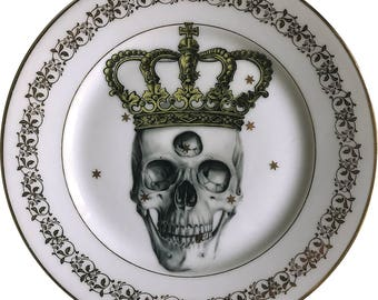 Third eye King - Skull - Vintage Porcelain Plate - Limoges France #0498