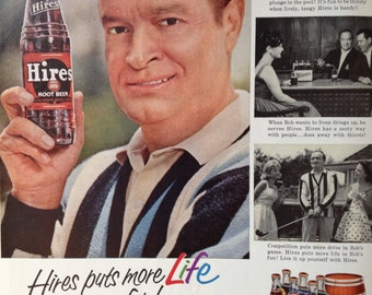 Vintage Hires Root Beer Ad featuring Bob Hope, Paper Ephemera from a 1961 Life Magazine.