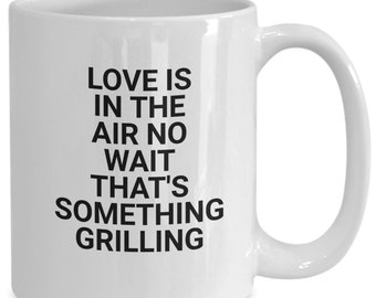 Funny coffee mug love grilling cup white