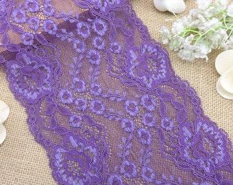 "On sale!!! 16.5 cm stretch lace 6.5"" stretch lace Purple Floral Stretch Lace Fabric DIY lace Trim Doll Dress"