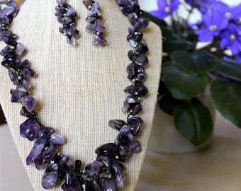 Natural Amethyst Gemstones Necklace & Earrings Set Black Wire Crochet