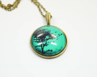 Necklace Tree birds Glass
