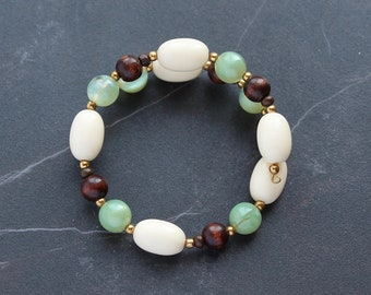 Olive Green Bracelet, Chocolate Brown Wood Wrap Bracelet Gold, Tan Vintage Lucite Beaded Bracelet, Gifts for Mom Her, Mother's Day Gifts