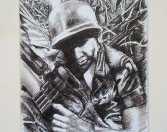 """Charcoal drawing: """"ONCE UPON a DELTA"""" military, wall art, original charcoal drawing"""