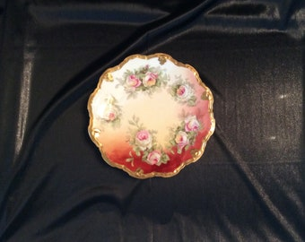 Limoges Coronet floral plate with scalloped edge