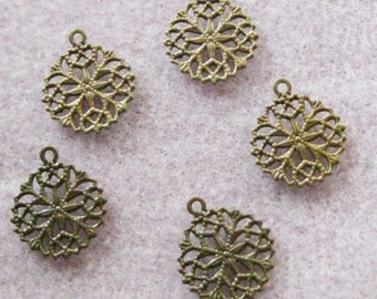 Antique Bronze Plated Brass Filigree Charm Pendant 12mm Nickel Lead Free 523