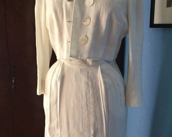 "1950s 1960s ""Marion McCoy Originals"" Linen Spring Summer Suit White Pencil Skirt"