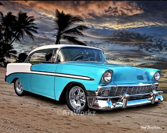 Auto Art, Car Art,  Classic Car Print, 1956 Chevy Hardtop, Hot Rod Art, AW1