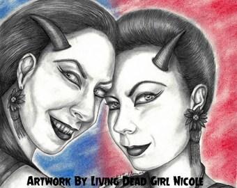 "Portrait Drawing Art Print: ""Twisted"" - Demon Twins Of Berlin Soska Sisters Twisted Twins Jen Sylvia American Mary Horror"