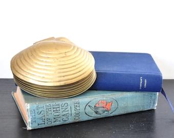 Vintage Brass Clam Shell Box, Trinket Box, Ring Box