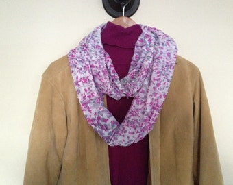 Infinity Scarf With Beautiful Ruffles, Pink And White *Handmade*